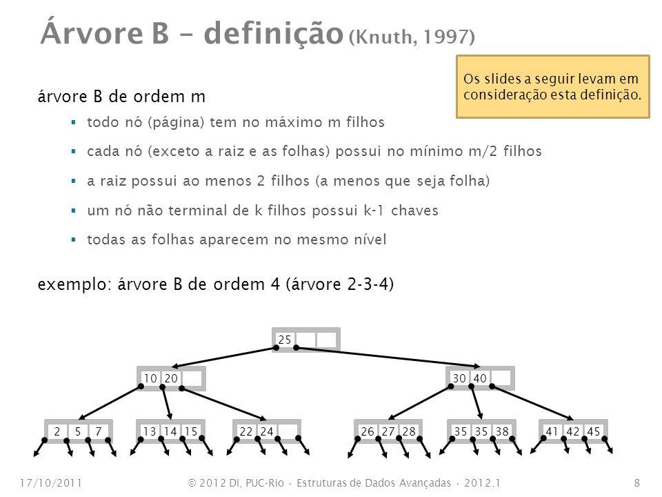 Árvore B – definição (Knuth, 1997) árvore B de ordem m todo nó (página) tem no máximo m filhos cada nó (exceto a raiz e as folhas) possui no mínimo m/2 filhos a raiz possui ao menos 2 filhos (a menos que seja folha) um nó não terminal de k filhos possui k-1 chaves todas as folhas aparecem no mesmo nível exemplo: árvore B de ordem 4 (árvore 2-3-4) 17/10/20118 102030402525713141526272835 384142452224 Os slides a seguir levam em consideração esta definição.