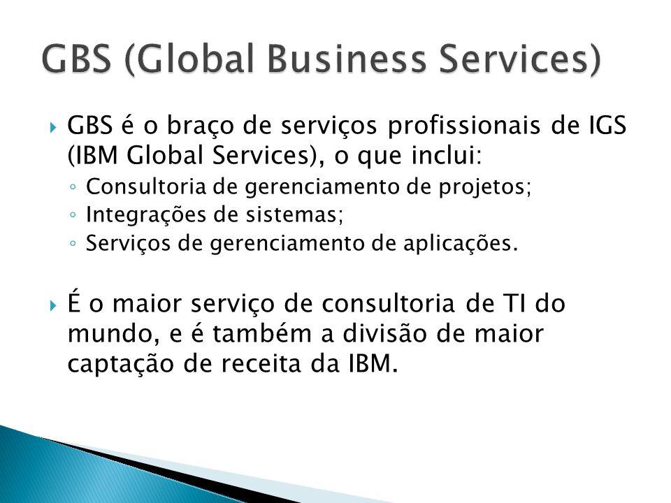 GBS é o braço de serviços profissionais de IGS (IBM Global Services), o que inclui: Consultoria de gerenciamento de projetos; Integrações de sistemas; Serviços de gerenciamento de aplicações.