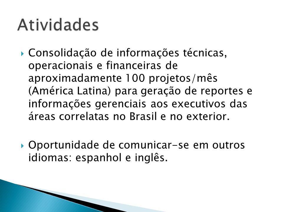 Consolidação de informações técnicas, operacionais e financeiras de aproximadamente 100 projetos/mês (América Latina) para geração de reportes e infor