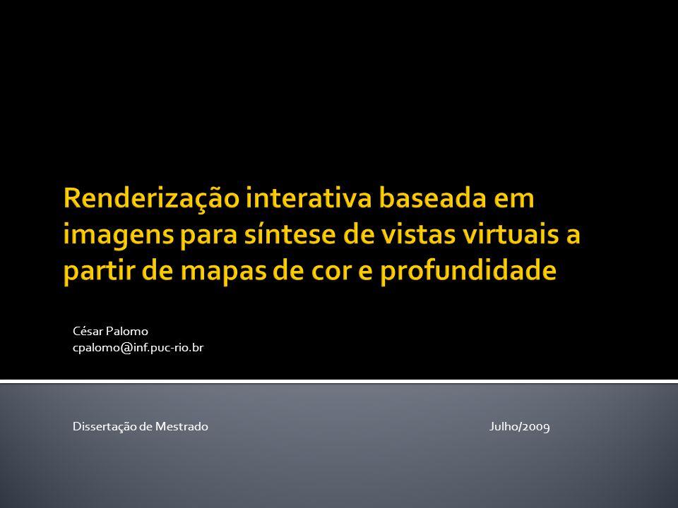 Como interpolar amostras visuais de uma cena para gerar vistas virtuais.