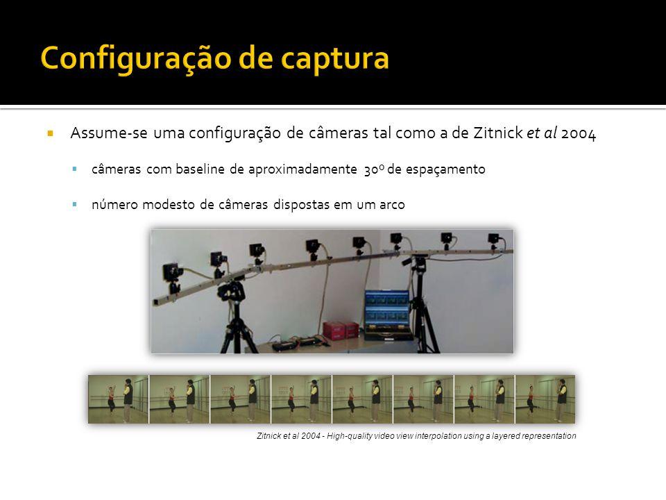 Assume-se uma configuração de câmeras tal como a de Zitnick et al 2004 câmeras com baseline de aproximadamente 30º de espaçamento número modesto de câmeras dispostas em um arco Zitnick et al 2004 - High-quality video view interpolation using a layered representation