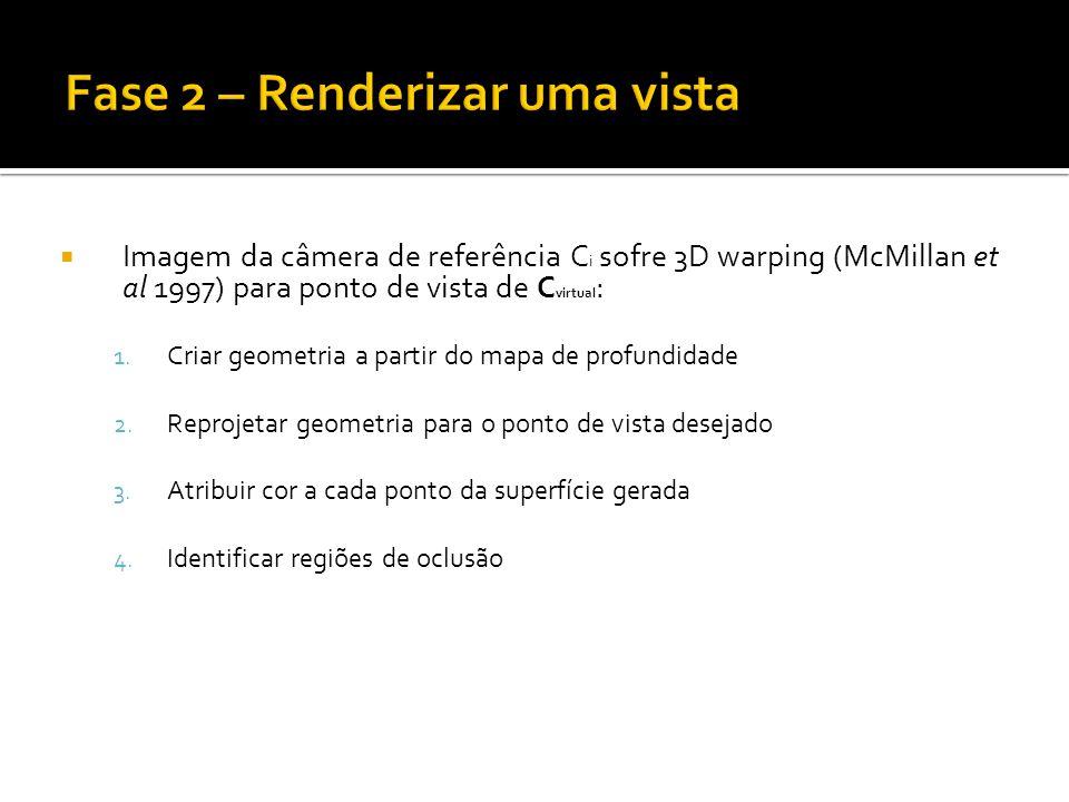 Imagem da câmera de referência C i sofre 3D warping (McMillan et al 1997) para ponto de vista de C virtual : 1.