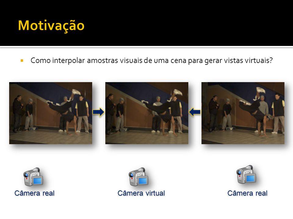 Como interpolar amostras visuais de uma cena para gerar vistas virtuais Câmera virtual Câmera real