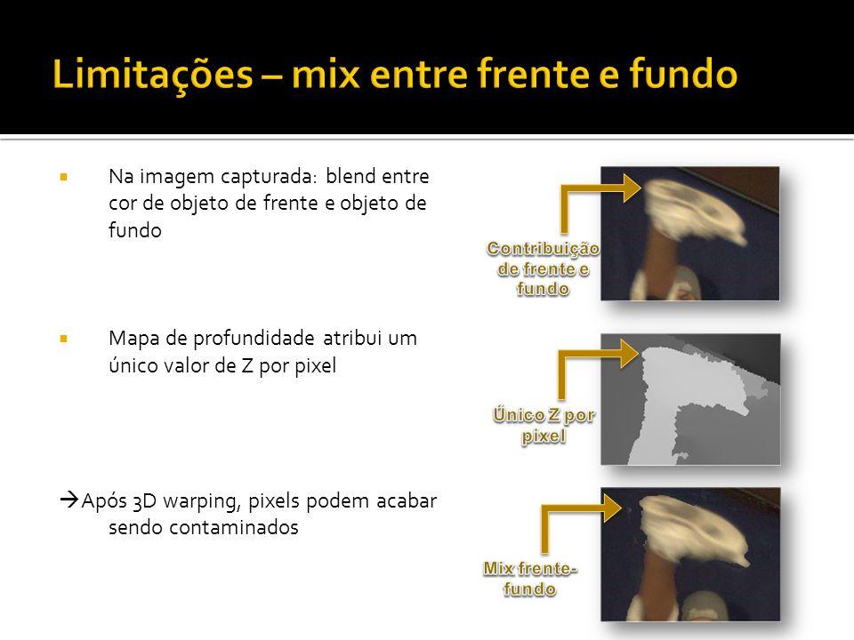 Na imagem capturada: blend entre cor de objeto de frente e objeto de fundo Mapa de profundidade atribui um único valor de Z por pixel Após 3D warping, pixels podem acabar sendo contaminados