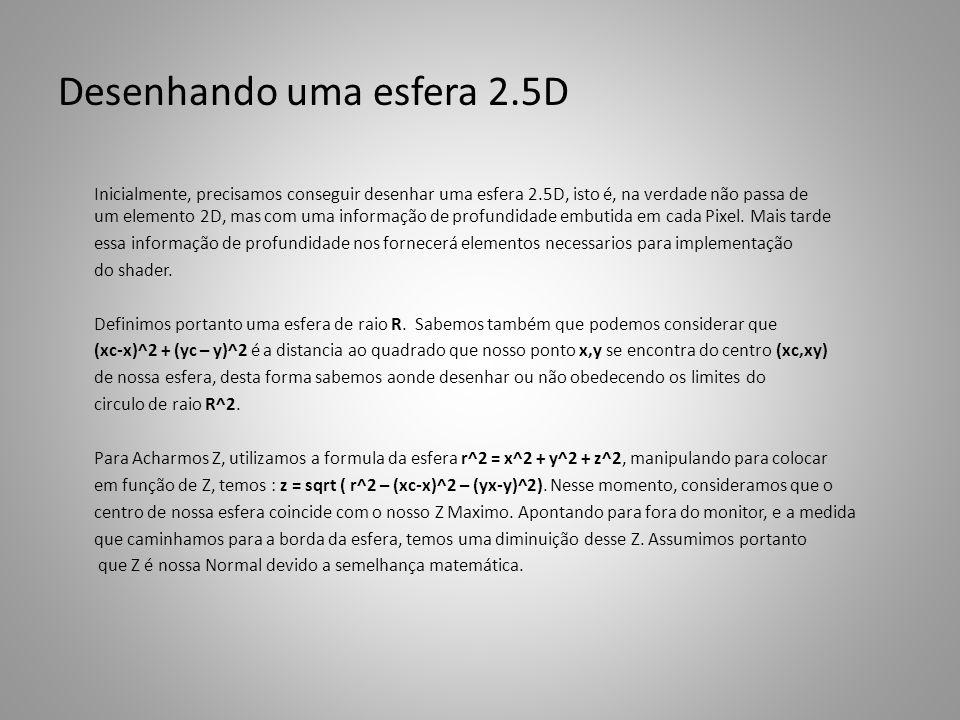 Desenhando uma esfera 2.5D Inicialmente, precisamos conseguir desenhar uma esfera 2.5D, isto é, na verdade não passa de um elemento 2D, mas com uma informação de profundidade embutida em cada Pixel.