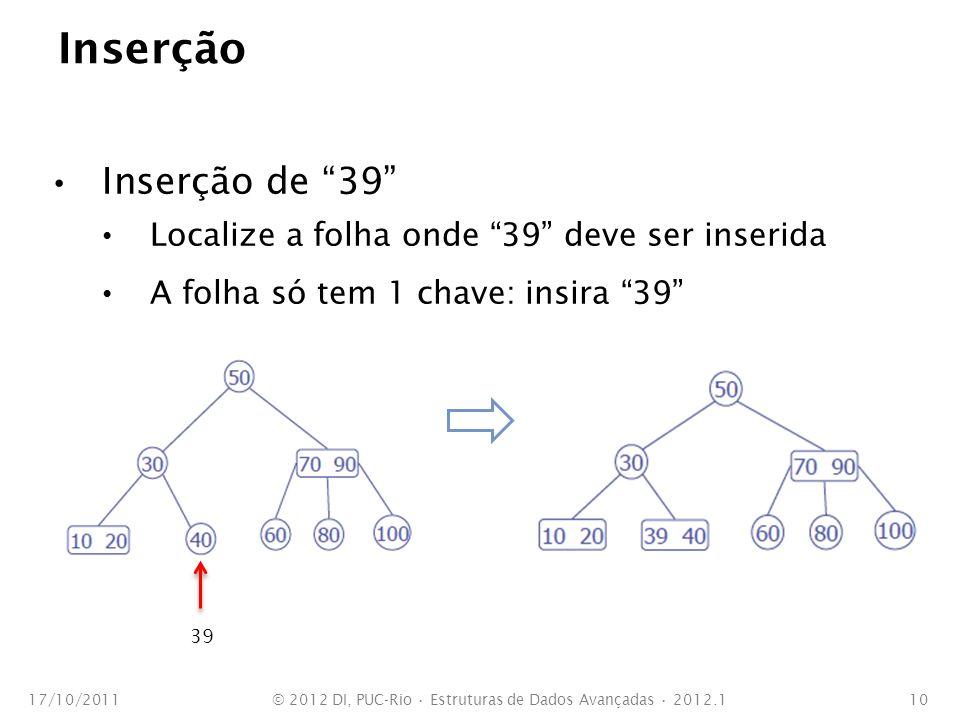 Inserção Inserção de 39 Localize a folha onde 39 deve ser inserida A folha só tem 1 chave: insira 39 17/10/2011© 2012 DI, PUC-Rio Estruturas de Dados