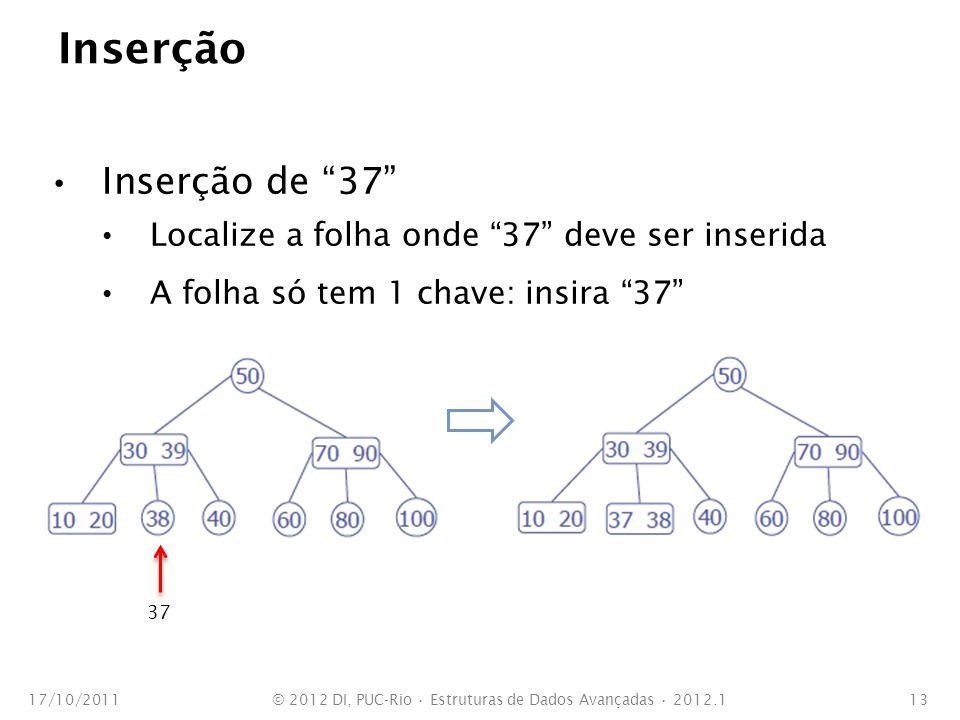 Inserção Inserção de 37 Localize a folha onde 37 deve ser inserida A folha só tem 1 chave: insira 37 17/10/2011© 2012 DI, PUC-Rio Estruturas de Dados