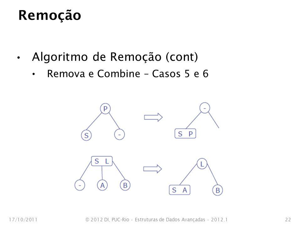 Remoção Algoritmo de Remoção (cont) Remova e Combine – Casos 5 e 6 17/10/2011© 2012 DI, PUC-Rio Estruturas de Dados Avançadas 2012.122