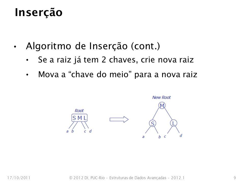 Inserção Algoritmo de Inserção (cont.) Se a raiz já tem 2 chaves, crie nova raiz Mova a chave do meio para a nova raiz 17/10/2011© 2012 DI, PUC-Rio Es