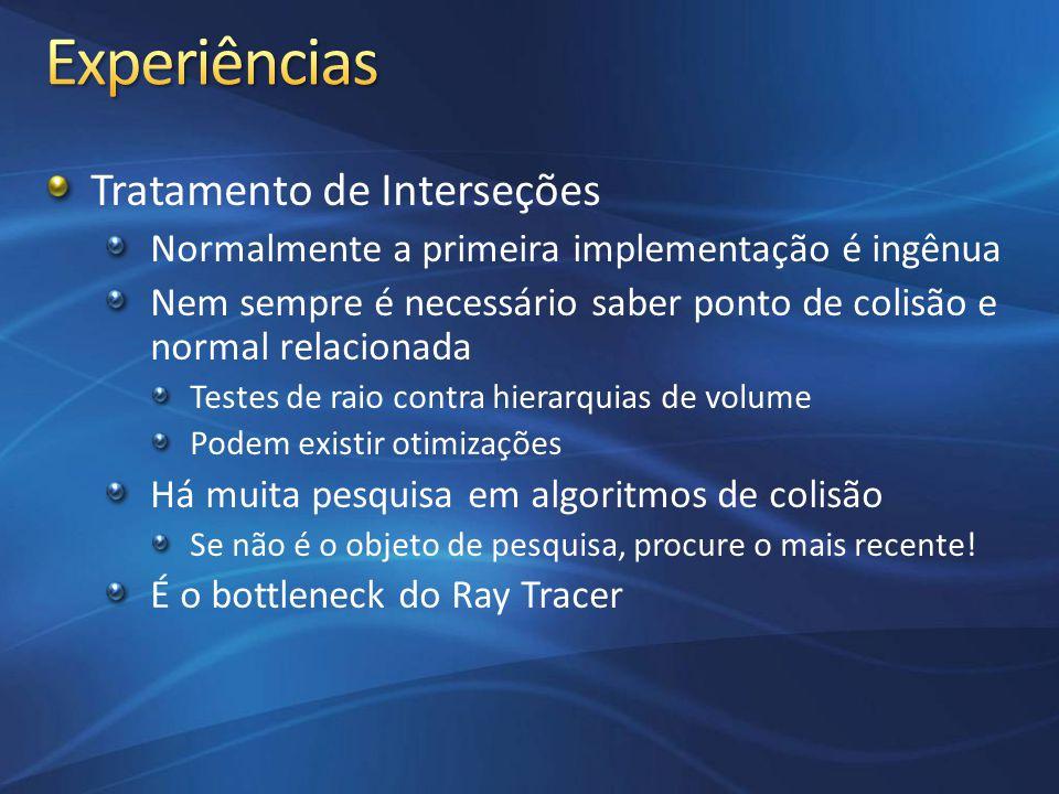 Tratamento de Interseções Raio x Esfera Tal como nos slides de aula Avalia uma equação de segundo grau Há algoritmos mais eficientes Raio x AABB (avaliando ponto de contato) Método desenvolvido por Kay e Kayjia Avaliação por Slabs (espaço entre dois planos paralelos) Calcula Interseção do Raio com slabs XYZ (pontos T1 e T2) Se o maior T1 (T-Near) for menor que o menor T2 (T-Far) Há interseção
