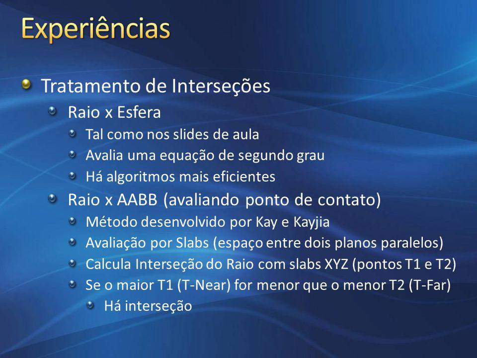 Tratamento de Interseções Raio x Esfera Tal como nos slides de aula Avalia uma equação de segundo grau Há algoritmos mais eficientes Raio x AABB (aval