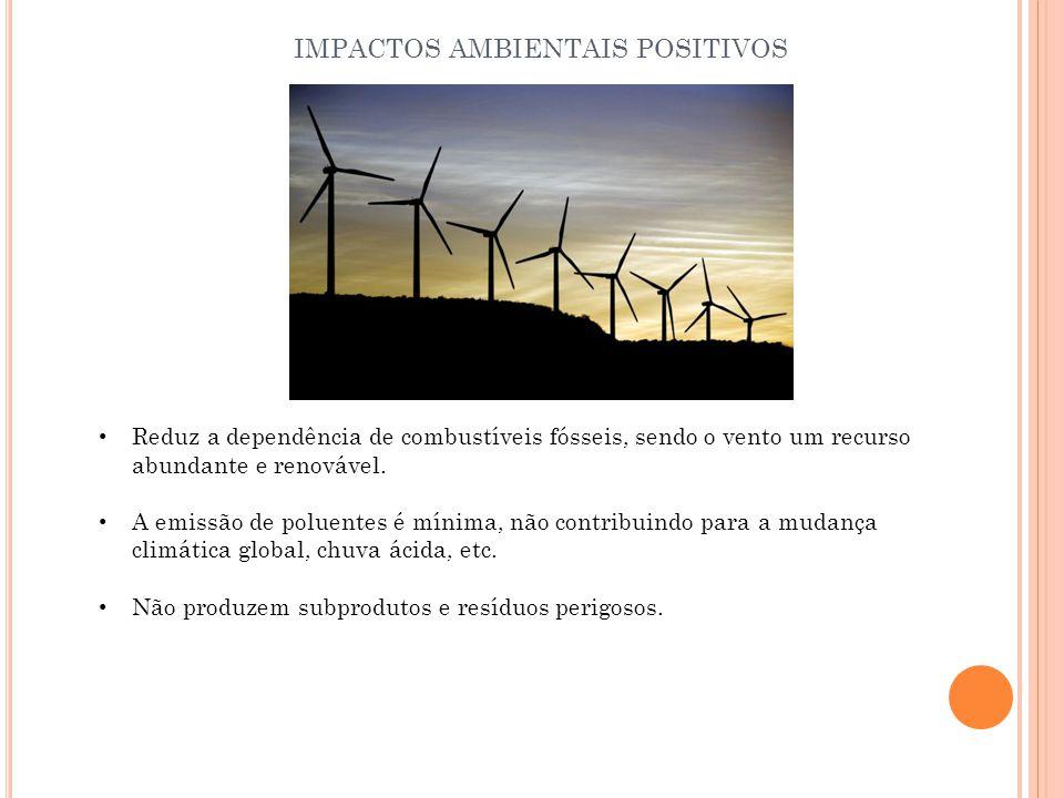 Reduz a dependência de combustíveis fósseis, sendo o vento um recurso abundante e renovável. A emissão de poluentes é mínima, não contribuindo para a