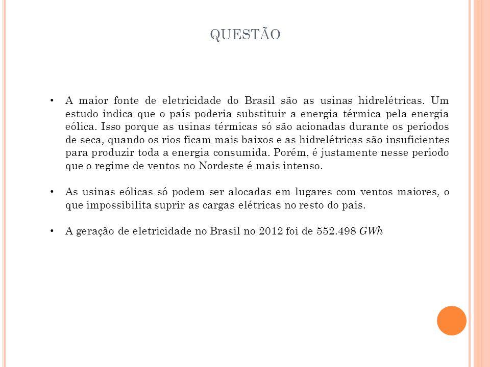 A maior fonte de eletricidade do Brasil são as usinas hidrelétricas. Um estudo indica que o país poderia substituir a energia térmica pela energia eól
