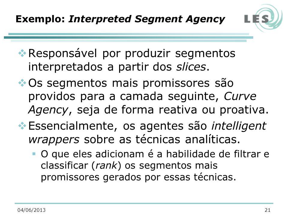 Exemplo: Interpreted Segment Agency Responsável por produzir segmentos interpretados a partir dos slices.