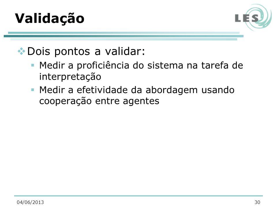 Validação Dois pontos a validar: Medir a proficiência do sistema na tarefa de interpretação Medir a efetividade da abordagem usando cooperação entre agentes 3004/06/2013