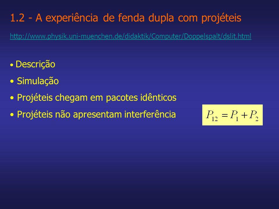 1.2 - A experiência de fenda dupla com projéteis http://www.physik.uni-muenchen.de/didaktik/Computer/Doppelspalt/dslit.html Descrição Simulação Projéteis chegam em pacotes idênticos Projéteis não apresentam interferência