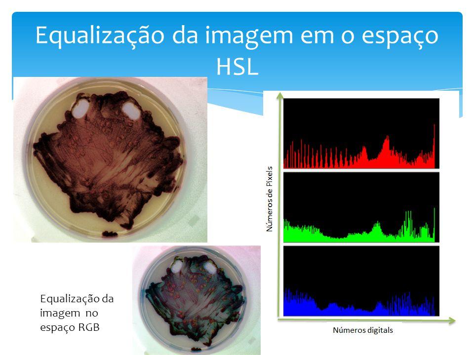 Equalização da imagem em o espaço HSL Equalização da imagem no espaço RGB