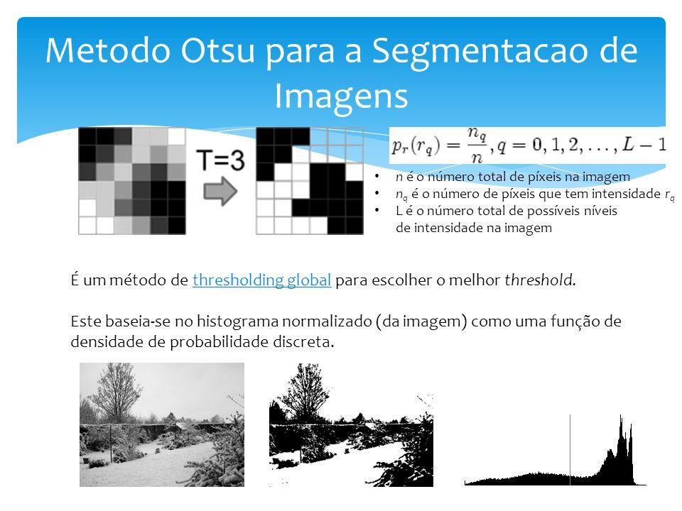 Metodo Otsu para a Segmentacao de Imagens É um método de thresholding global para escolher o melhor threshold.thresholding global Este baseia-se no histograma normalizado (da imagem) como uma função de densidade de probabilidade discreta.