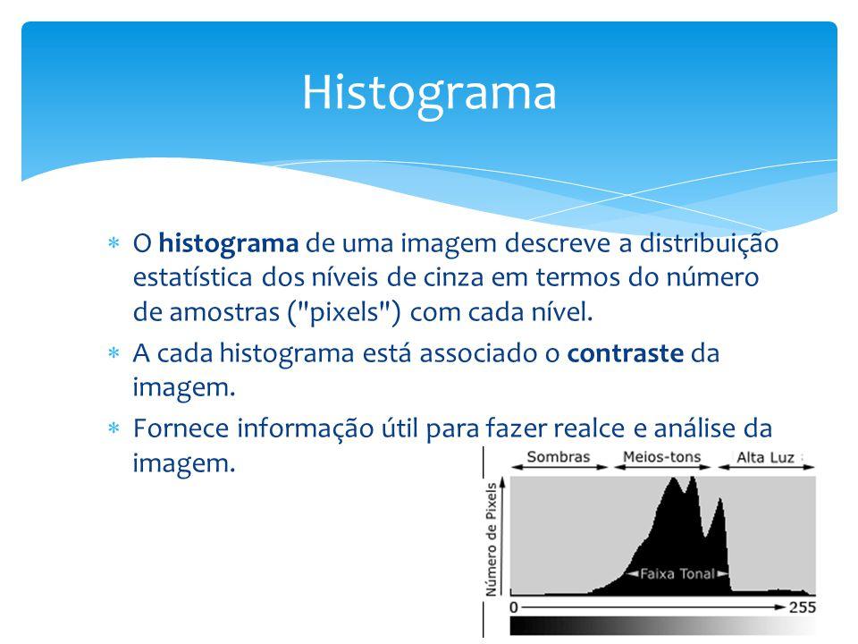 O histograma de uma imagem descreve a distribuição estatística dos níveis de cinza em termos do número de amostras ( pixels ) com cada nível.
