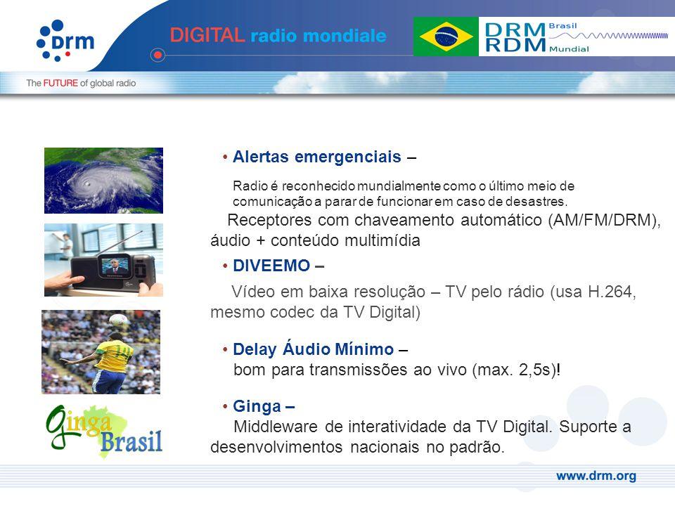 Alertas emergenciais – Radio é reconhecido mundialmente como o último meio de comunicação a parar de funcionar em caso de desastres. Receptores com ch