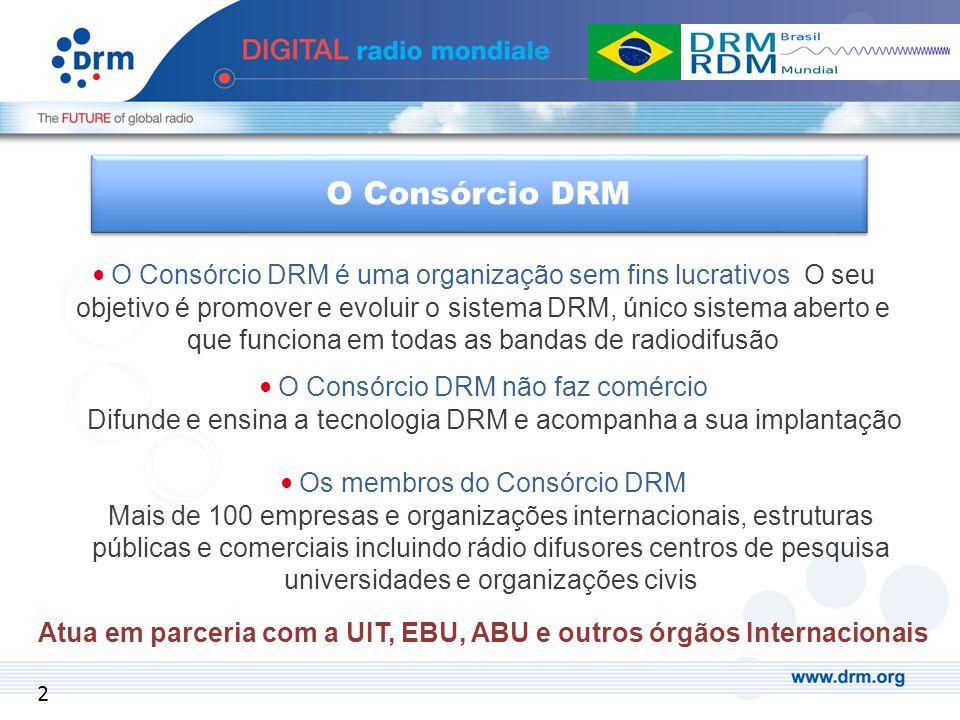 O Consórcio DRM é uma organização sem fins lucrativos O seu objetivo é promover e evoluir o sistema DRM, único sistema aberto e que funciona em todas