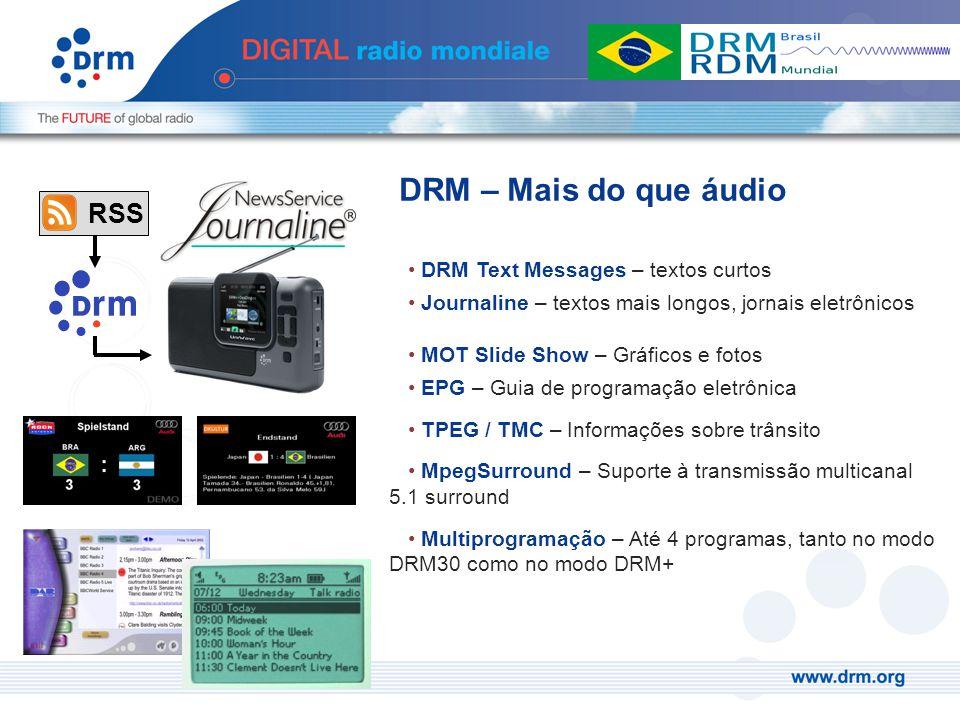 DRM Text Messages – textos curtos Journaline – textos mais longos, jornais eletrônicos MOT Slide Show – Gráficos e fotos EPG – Guia de programação ele