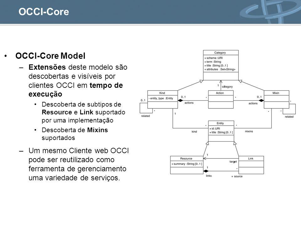 OCCI-Core OCCI-Core Model –Extensões deste modelo são descobertas e visíveis por clientes OCCI em tempo de execução Descoberta de subtipos de Resource e Link suportado por uma implementação Descoberta de Mixins suportados –Um mesmo Cliente web OCCI pode ser reutilizado como ferramenta de gerenciamento uma variedade de serviços.