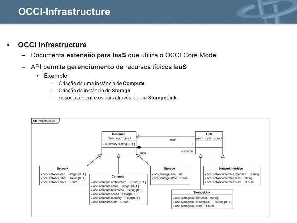 OCCI Infrastructure –Documenta extensão para IaaS que utiliza o OCCI Core Model –API permite gerenciamento de recursos típicos IaaS Exemplo –Criação de uma instância de Compute –Criação de instância de Storage –Associação entre os dois através de um StorageLink