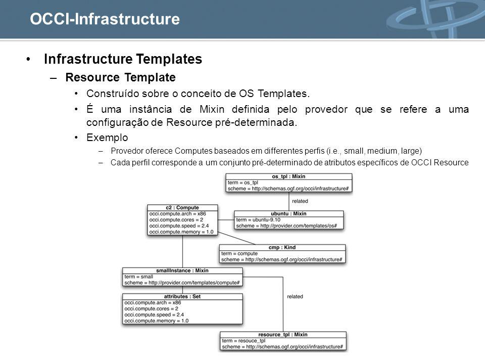 OCCI-Infrastructure Infrastructure Templates –Resource Template Construído sobre o conceito de OS Templates.