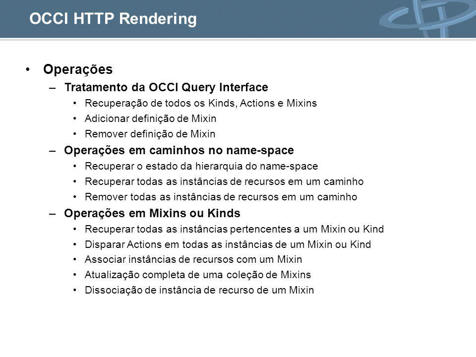 OCCI HTTP Rendering Operações –Tratamento da OCCI Query Interface Recuperação de todos os Kinds, Actions e Mixins Adicionar definição de Mixin Remover definição de Mixin –Operações em caminhos no name-space Recuperar o estado da hierarquia do name-space Recuperar todas as instâncias de recursos em um caminho Remover todas as instâncias de recursos em um caminho –Operações em Mixins ou Kinds Recuperar todas as instâncias pertencentes a um Mixin ou Kind Disparar Actions em todas as instâncias de um Mixin ou Kind Associar instâncias de recursos com um Mixin Atualização completa de uma coleção de Mixins Dissociação de instância de recurso de um Mixin