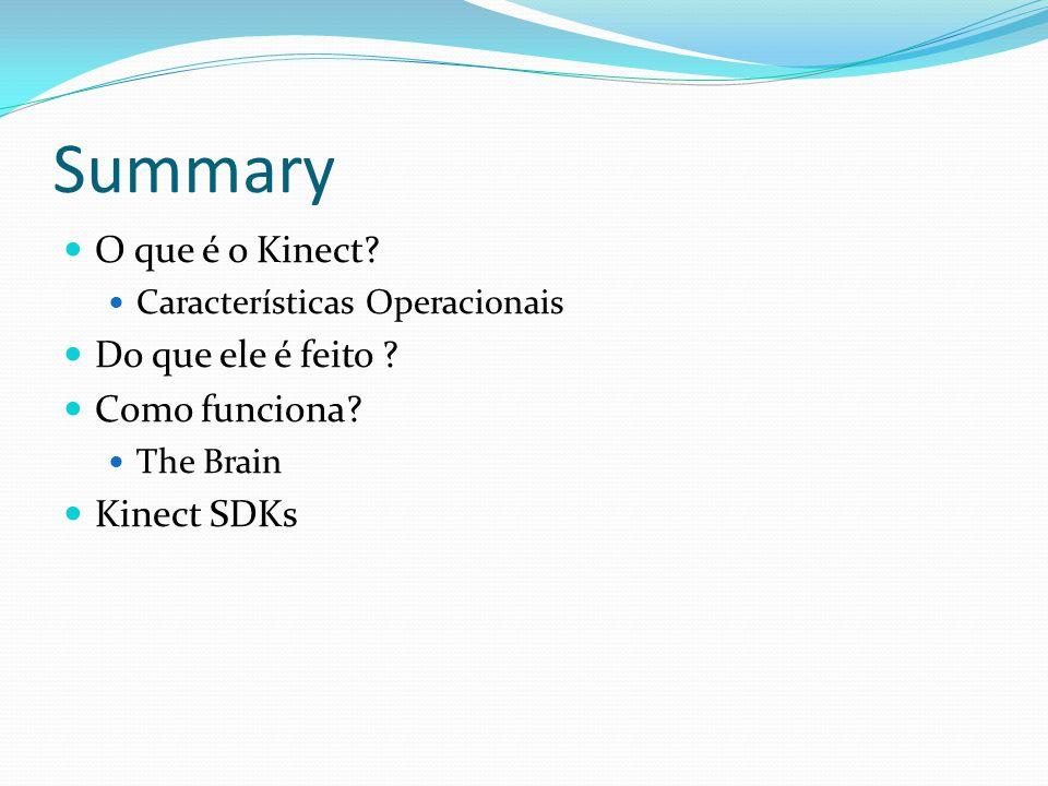 Summary O que é o Kinect? Características Operacionais Do que ele é feito ? Como funciona? The Brain Kinect SDKs