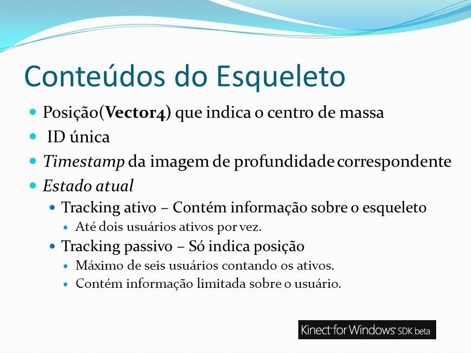Conteúdos do Esqueleto Posição(Vector4) que indica o centro de massa ID única Timestamp da imagem de profundidade correspondente Estado atual Tracking