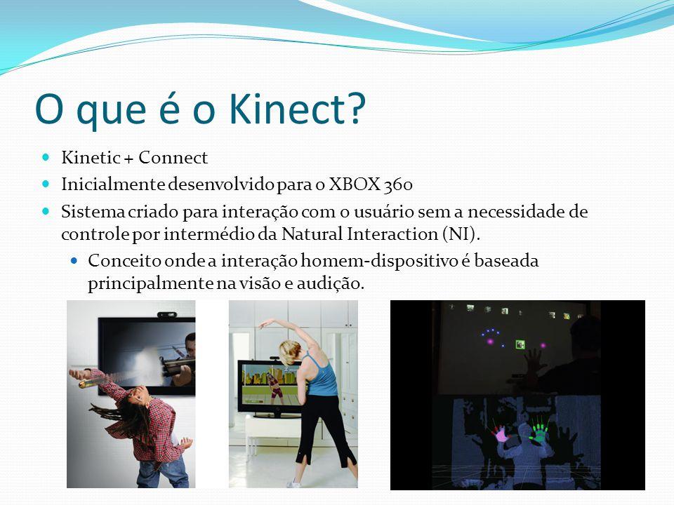 O que é o Kinect? Kinetic + Connect Inicialmente desenvolvido para o XBOX 360 Sistema criado para interação com o usuário sem a necessidade de control