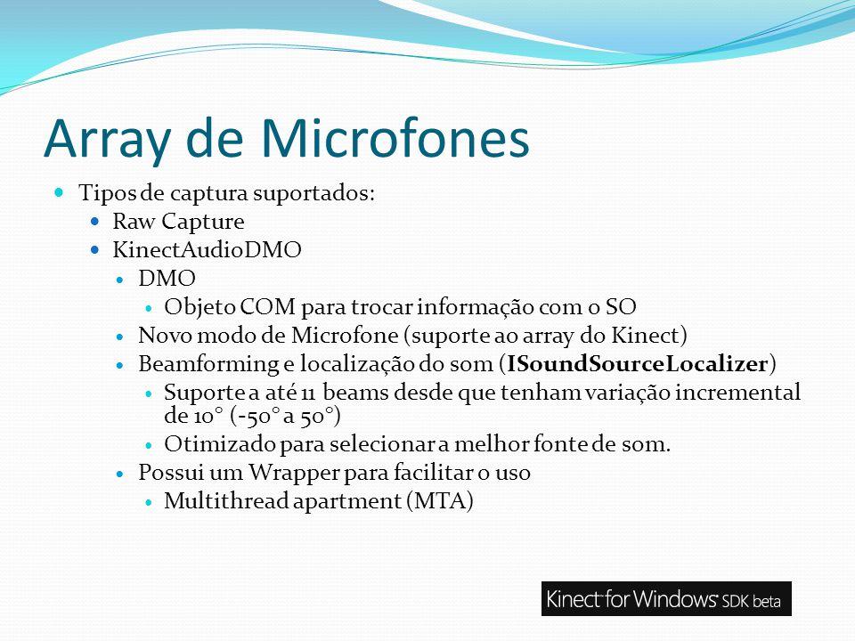 Array de Microfones Tipos de captura suportados: Raw Capture KinectAudioDMO DMO Objeto COM para trocar informação com o SO Novo modo de Microfone (sup