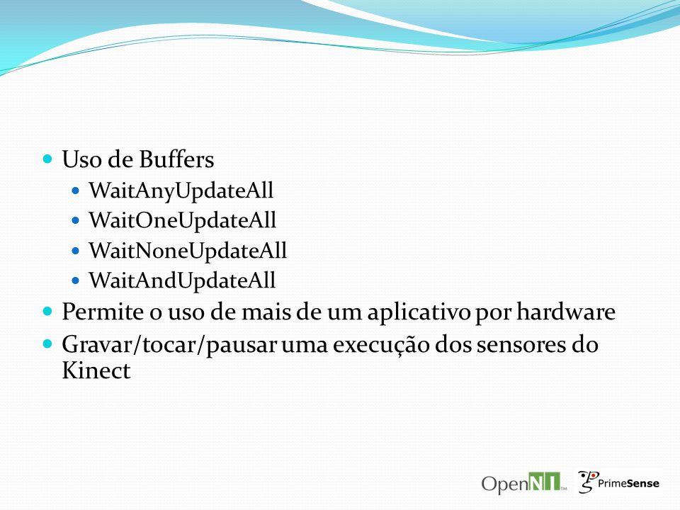 Uso de Buffers WaitAnyUpdateAll WaitOneUpdateAll WaitNoneUpdateAll WaitAndUpdateAll Permite o uso de mais de um aplicativo por hardware Gravar/tocar/p