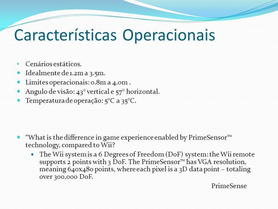 Características Operacionais Cenários estáticos. Idealmente de 1.2m a 3.5m. Limites operacionais: 0.8m a 4.0m. Angulo de visão: 43° vertical e 57° hor