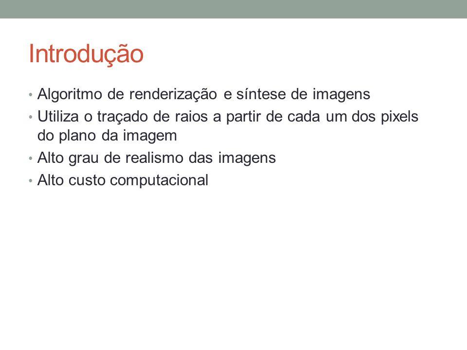 Introdução Algoritmo de renderização e síntese de imagens Utiliza o traçado de raios a partir de cada um dos pixels do plano da imagem Alto grau de re