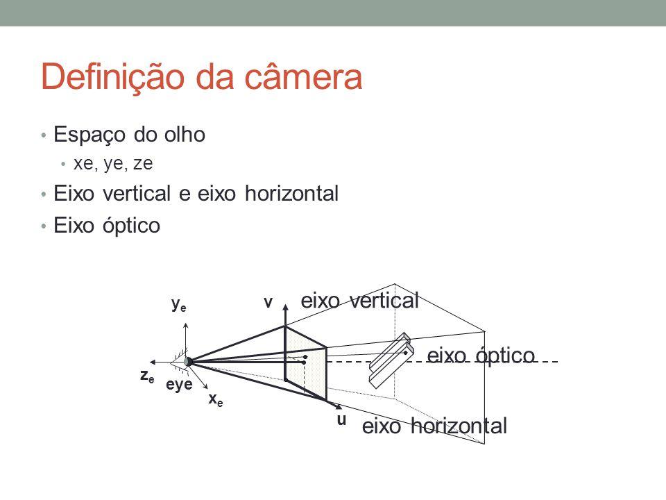 Definição da câmera Espaço do olho xe, ye, ze Eixo vertical e eixo horizontal Eixo óptico eixo óptico v u eye xexe yeye zeze eixo horizontal eixo vert