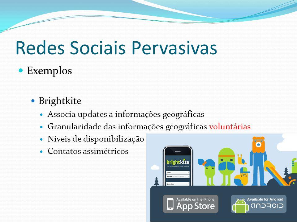 Redes Sociais Pervasivas Exemplos Brightkite Associa updates a informações geográficas Granularidade das informações geográficas voluntárias Níveis de