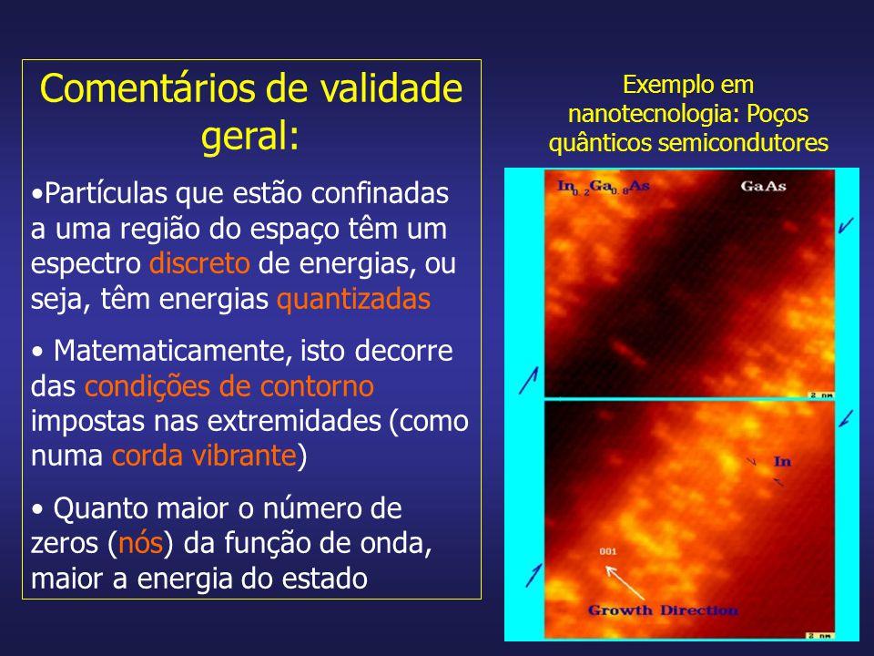 Comentários de validade geral: Partículas que estão confinadas a uma região do espaço têm um espectro discreto de energias, ou seja, têm energias quan