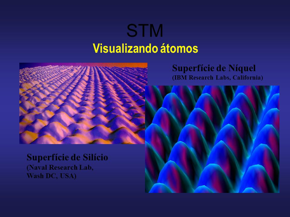 STM Visualizando átomos Superfície de Silício (Naval Research Lab, Wash DC, USA) Superfície de Níquel (IBM Research Labs, California)