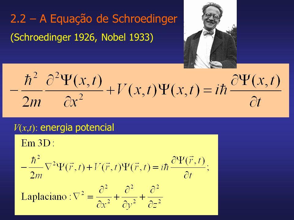2.2 – A Equação de Schroedinger (Schroedinger 1926, Nobel 1933) V(x,t): energia potencial