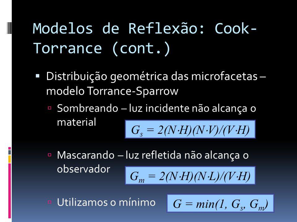 Modelos de Reflexão: Cook- Torrance (cont.) Distribuição geométrica das microfacetas – modelo Torrance-Sparrow Sombreando – luz incidente não alcança