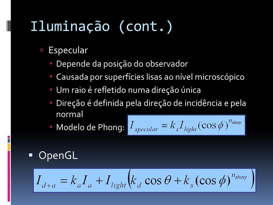 Iluminação (cont.) Especular Depende da posição do observador Causada por superfícies lisas ao nível microscópico Um raio é refletido numa direção úni