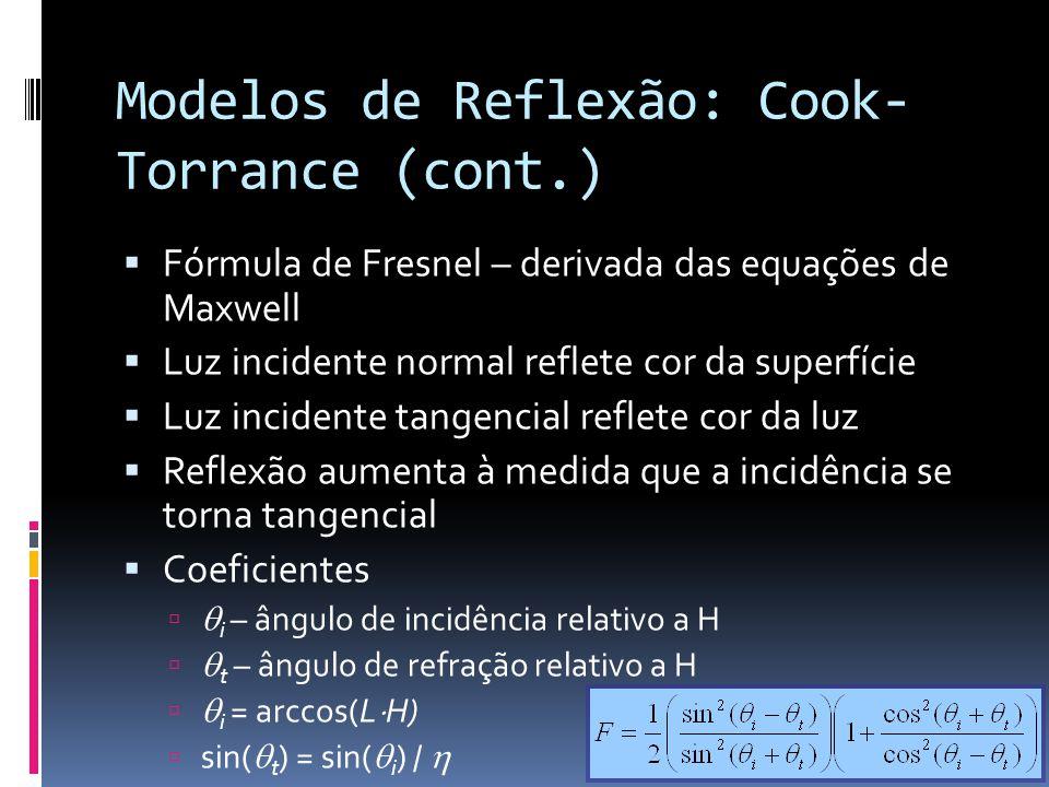 Modelos de Reflexão: Cook- Torrance (cont.) Fórmula de Fresnel – derivada das equações de Maxwell Luz incidente normal reflete cor da superfície Luz i