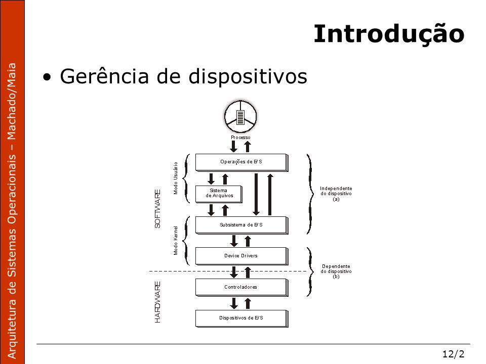 Arquitetura de Sistemas Operacionais – Machado/Maia 12/2 Introdução Gerência de dispositivos