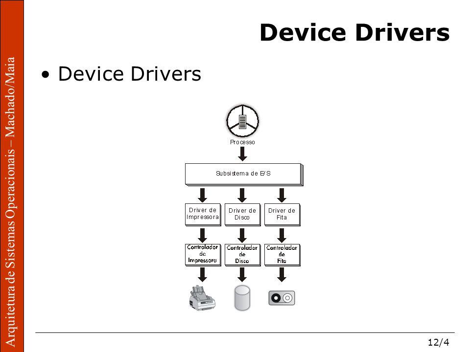 Arquitetura de Sistemas Operacionais – Machado/Maia 12/4 Arquitetura de Sistemas Operacionais – Machado/Maia Device Drivers
