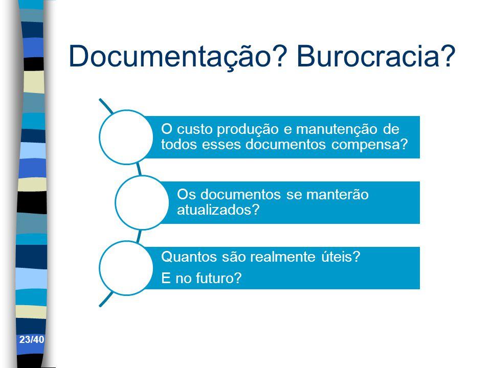Documentação.Burocracia. O custo produção e manutenção de todos esses documentos compensa.