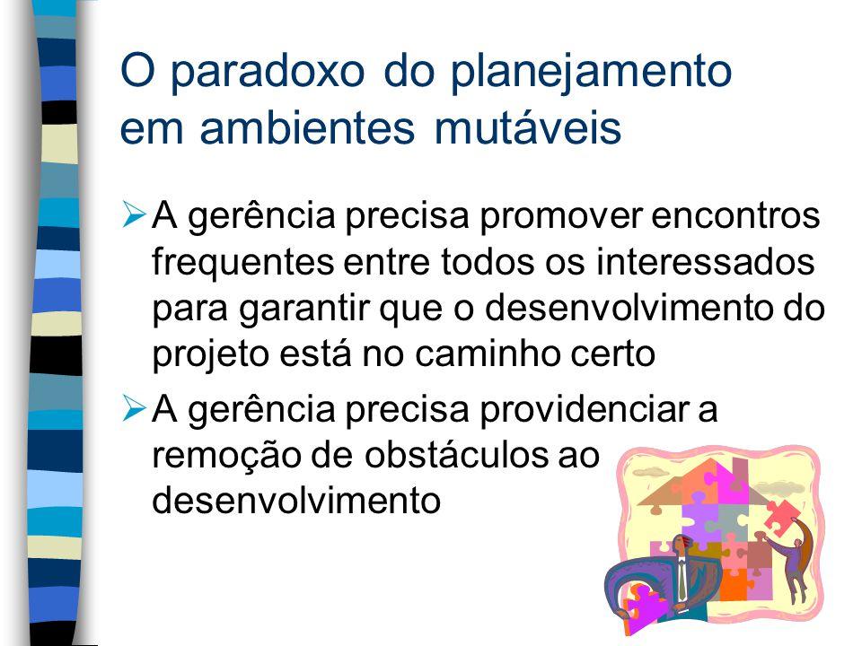 O paradoxo do planejamento em ambientes mutáveis A gerência precisa promover encontros frequentes entre todos os interessados para garantir que o desenvolvimento do projeto está no caminho certo A gerência precisa providenciar a remoção de obstáculos ao desenvolvimento