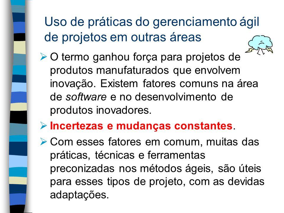 Uso de práticas do gerenciamento ágil de projetos em outras áreas O termo ganhou força para projetos de produtos manufaturados que envolvem inovação.